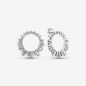 Pandora Sparkling Ice Cube Circle Stud Earrings